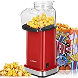 Aicook Macchina per Pop Corn, 1400W Macchina Popcorn, Funzionamento ad Aria Calda, Senza Oli e Grassi, Coperchio Rimovibile, Senza BPA