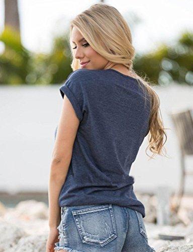 Ghope Damen Sommer T-shirt Anker Sailing Design Leichtes Basic Bluse Top Shirt im Vintage Style Blau