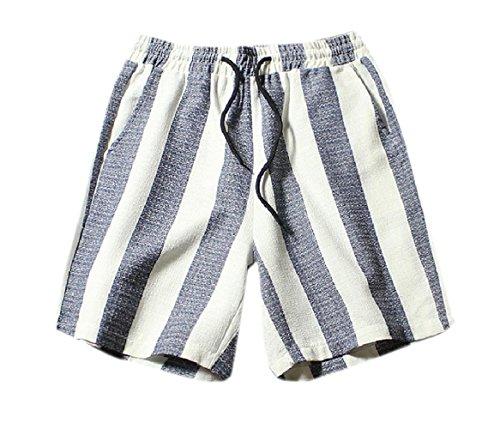 CuteRose Mens Beach Oversized Linen Breathable Folk Style Cargo Shorts 3XL Blue (Shorts Cargo Linen-blend)