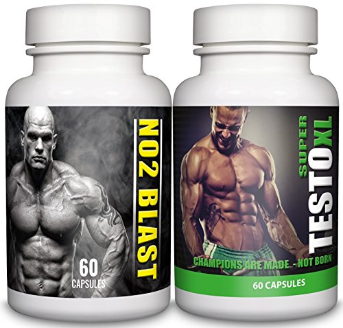 NO2 Blast & SUPER TESTO XL – 1-month Supply – L Arginine and L Citrulline, Tribulus Terrestris, Testosterone Support– Sports Nutrition Supplement for Men by Natural Answers