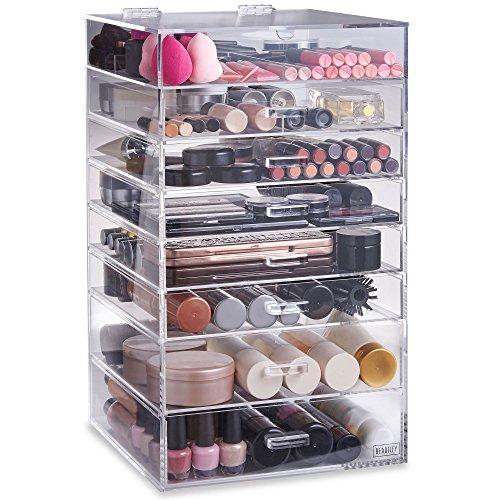 Beautify Großes 8 Etagen Transparentes Akryl Kosmetika Make-up Kosmetik Ordnungssystem mit 7 Schubladen & 2 Herausnehmbaren Trennwänden