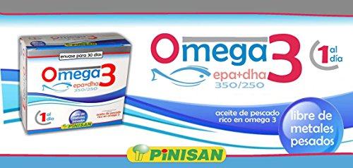 Pinisan Omega 3 Olio di Pesce da 1000 mg ✦ importante è privo di metalli pesanti ✦Epa 350mg / Dha 250mg✦ Alta Concentrazione ✦ Integratori alimentari ✦ Non-GMO, Prive di Glutine ✦ 1 capsula al giorno
