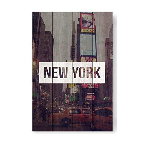 artboxONE Holzbild 60x40 cm Städte/New York Time Square von Künstler Helen Schrader
