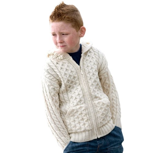 100% Merino Wool Ecru Natural Hooded Zip Cardigan With Pockets, 6-7 yrs (Zip-cardigan Wool)