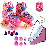 ZCRFY Rollschuhe Einstellbare Zweireihige RollerSkates 4 Räder Kids Training Rollerblades Anfänger 3-20 Jahre Kleinkinder,Pink-Set2-S(27-32) Code