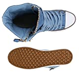 Damen Sneakers High Zipper Camouflage Boots Sneaker Stiefel Denim Schnürstiefeletten Schuhe 130788 Hellblau Zipper 37 Flandell