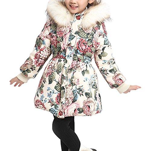 Ochenta Mädchen Mantel Jacke Blumen Warm Herbst Winter Kapuze Pelz Mantel Kinder, Beige, FRTZ43-22-1-05-Beige-130cm-New (Blumen-mädchen-jacke)