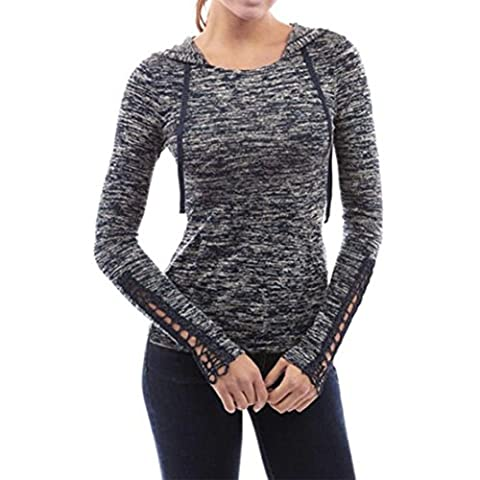 Knitted Hooded Jimmkey Women Sportwear Long Sleeve Shirt Hollow Out Sleve Tops Casual Tops Women Shirt With Hat (M,