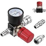 """Regulador de presión de aire,Preciva Regulador de presión Interruptor Válvula de conmutación de presión con manómetro 1/4 """"175 PSI para compresor de aire,4 agujeros"""