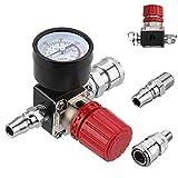 Regulador de presión de aire,Preciva Regulador de presión Interruptor Válvula de conmutación de presión con manómetro 1/4 '175 PSI para compresor de aire,4 agujeros