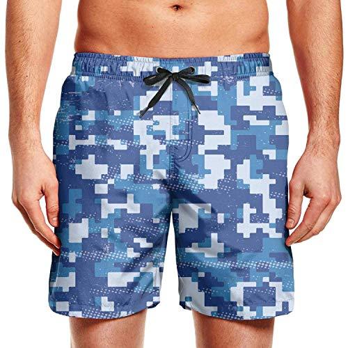 Digital Camo Cargo Short (Digital Camo Patterns Man's Beach Shorts Surf Training Casual Sport Board ShortL)