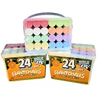 Kids B Crafty 3 x 24 Giant Bright Coloured Chalks Chunky Pavement Washable Fun For Children 8 Super Vibrant Colours - Outdoor - Garden School Drawing Games - Artists Imagination - Toddler - Chalkbard