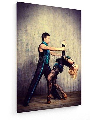 Latin American Dance - Tango - 40x60 cm - Textil-Leinwandbild auf Keilrahmen - Wand-Bild - Kunst, Gemälde, Foto, Bild auf Leinwand - (Spanische Schönheit Kostüme)