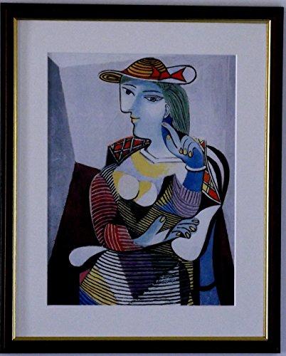 Pablo Picasso Spezialität Druck/Bild-Sitzende Frau-auf eine hohe Qualität Medium, Walnut Finish Frame With Mount And Small Image, 14 x 11inch -