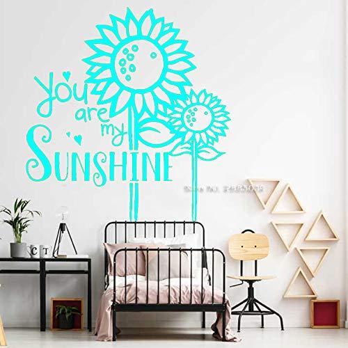 zqyjhkou Sonnenblume Zitate Wandtattoo - Du bist Mein Sonnenschein - Blume Vinyl Dekor für Schlafzimmer Spielzimmer Home Decoration Wandaufkleber 5 XXL 110cm x 116cm