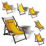 Printalio Wunschtext - Bierglas - Liegestuhl Bedruckt Balkon Garten Sonnenliege Relax Holz Terrasse | mit Armlehne, Dunkelbraun