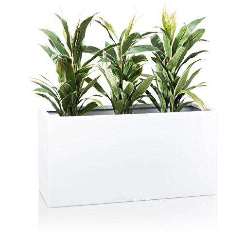 Maceta, jardinera de fibra de vidrio VISIO - color: blanco brillante - maceta grande resistente a...