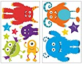 plot4u 11-teiliges Monster Wandtattoo Set Kinderzimmer Babyzimmer in 5 Größen (2x16x26cm Mehrfarbig)
