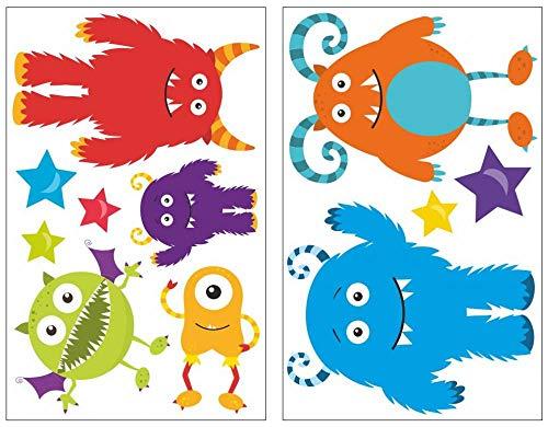 plot4u 11-teiliges Monster Wandtattoo Set Kinderzimmer Babyzimmer in 5 Größen (2x27x43cm Mehrfarbig)