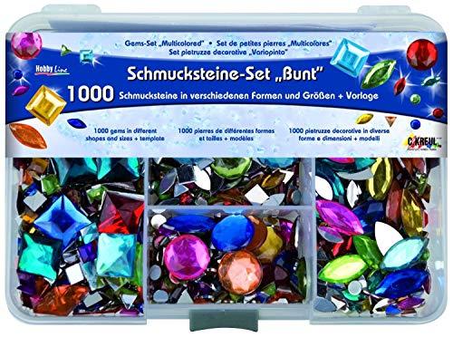Kreul 49641 - Schmucksteine Set, für die Gestaltung von modischen Accessoires und zur Gestaltung im Home Deco Bereich, 1000 bunte Steine in verschiedenen Formen und Größen