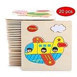 Card Boy Holz Puzzles für Kleinkinder, Tiere / Insekten / Obst / Fahrzeuge Lernspielzeug für Kinder Jungen Mädchen, (Nicht wiederholen zufällige 10/20 Pcs)