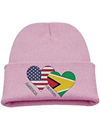 affa1a6b4be8e OJNGE8VERVD Boys Knitted Hat America Guyana Flag Heart Winter Warm Skull  Caps for Kids Soft Girls