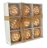 Festive Productions glänzend Geometrische Bälle in einer weiß Papier Box, blau, Microfaser, rose gold, 24 x 8 x 24 cm