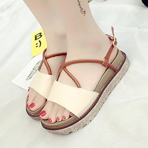 RUGAI-UE Con suole spesse sandali donne piatto estivo Studenti scarpe Beige