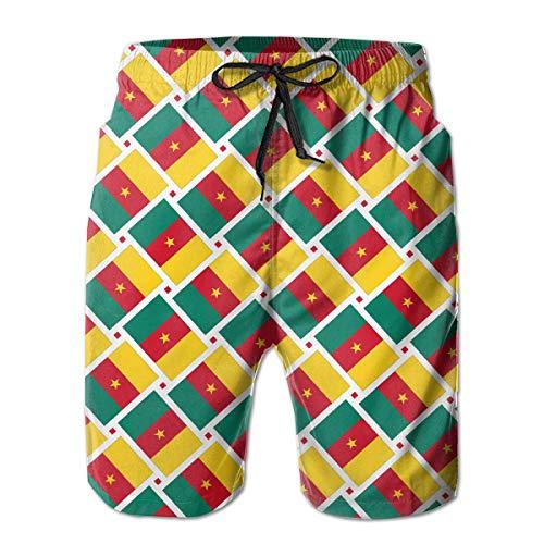 Weben Erweiterungen (wwoman Herren Badehose Kamerun Flagge Weben Schnell Trocknend Strand Board Shorts, XL)