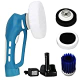 Power CAR Polisher and Buffer Cleaner Machine for Car Cleaning, Waxing and Polishing with 3 multifunctional interchangeable brushes, Blue, FORTUNE DRAGON.