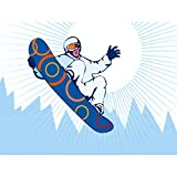 Wee Blue Coo NURSERY SNOWBOARDING JUMP AIR MOUNTAINS KIDS BEDROOM ART 12 X 16 INCH POSTER Asilo nido La neve TAVOLA Montagna bambini Camera da letto Manifesto