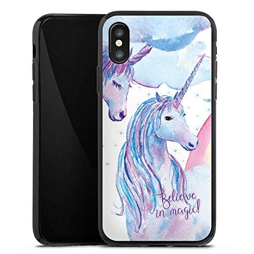 Apple iPhone X Silikon Hülle Case Schutzhülle sprüche einhörner unicorns Silikon Case schwarz