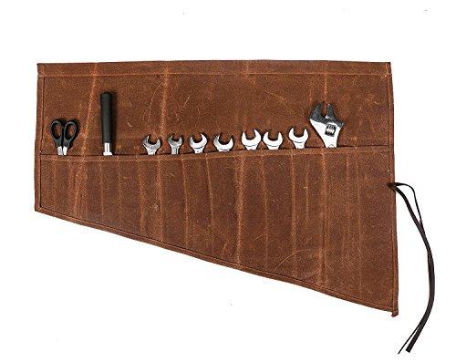 QEES Wasserdichte Werkzeugtasche aus gewachstem Segeltuch Handgefertigte Rolltasche (14 Fächer) tragbare Aufbewahrungstasche für Werkzeuge Für Handwerker Elektriker Maler Künstler Tischler GJB13