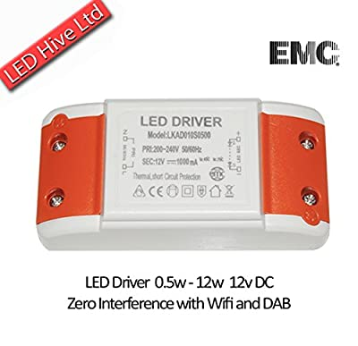 NEW! LED Driver Transformer 240V - 12V with Terminal Blocks, 0.5 to 12W / 240v AC to 12v DC-AC / ZERO Interference with Dab and Wifi from LED Hive