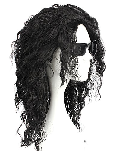 CLOCOLOR Michael Jackson Cosplay Perücke Schwarz Lange lockige Wigs Heiz Resistent Kostüm Party Karneval Halloween Perücke (Michael Jackson Halloween Kostüm)