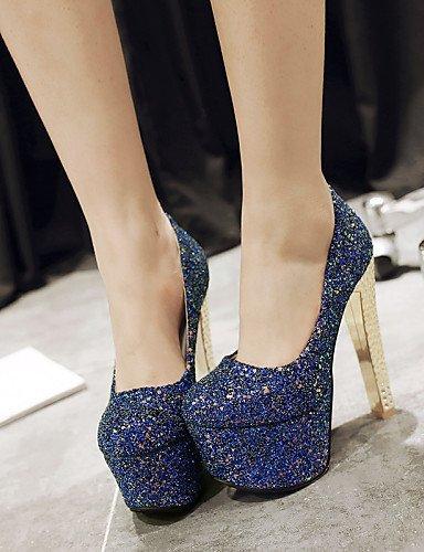 ShangYi Chaussures Femme - Mariage / Habillé / Soirée & Evénement - Noir / Bleu / Argent - Gros Talon - Talons / Bout Arrondi - Talons - Blue