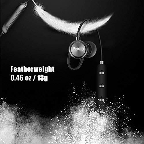 Arbily Bluetooth Kopfhörer, Y3 Sport Kopfhörer Leichter Magnetisch Stereo Noise Canceling Kopfhörer Wireless IPX7 Sweatproof In-Ear Sport Headset mit Mikrofon für Sport, Reisen und mehr(Silber) - 4