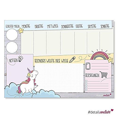 Schreibtisch Block bunt rosa dv/_105 Schreibtischunterlage Einhorn für Mädchen