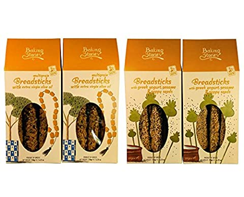 Greek traditional Breadsticks, 2 Cretan flavours pack, one with Olive Oil and Multi Seeds and one with Greek Yogurt, Sesame and Poppy seeds, Net Weight 480g Carton Boxes.