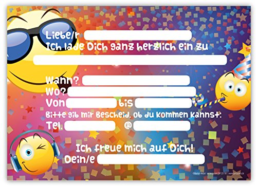 ... 12 Lustige Einladungskarten Im Set Für Kindergeburtstag Party Emoji  Smiley Disco Für Jungen Mädchen Kinder Top ...