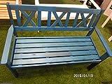 3-Seater Garden Bench Park Bench Pine Wood Varnished Blue 129cm