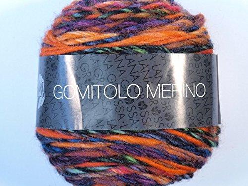 Lana Grossa Pelote à tricoter Mérinos kōsuke Tolo 005 Orange/Rouge/Violet/Bleu pétrole/bleu/noir 50 g