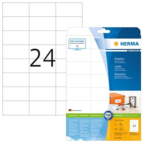 Herma 4390 Universal Etiketten (70 x 37 mm) weiß, 600 Aufkleber, 25 Blatt DIN A4 Premium Papier matt, bedruckbar, selbstklebend