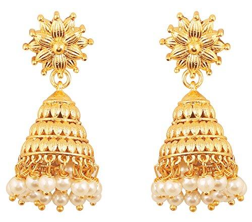 Prüfstein indischen Bollywood Bahubali Fame Ethnic Royal Charme Designer Schmuck Ohrringe Kronleuchter aufgehängt mit Faux Perlen in Gold für Damen in gold Ton. (Designer Ohrringe)