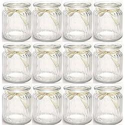 12 x Windlichter geriffelt mit cremefarbenem Band H 9 cm - Vasen - Teelichtgläser