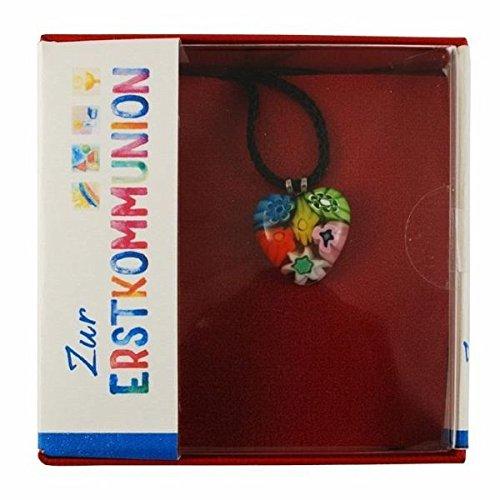 Halsanhänger Herz, mehrfarbig, aus venezianischem Muranoglas, mit Schnur