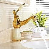 XPYFaucet Wasserhahn Armatur Mischbatterie Ausziehbarer Bad-Waschtisch aus vergoldetem Kupfer mit natürlichem Jade-Design, heiß und kalt, Athens Saphir-Pull