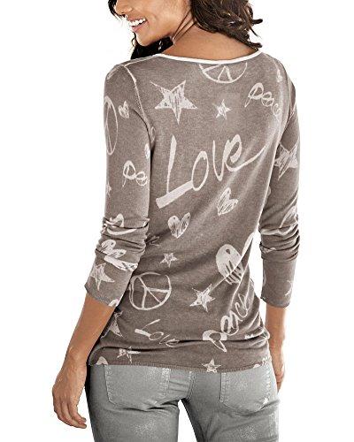 Minetom Donna Autunno Inverno Strass Camicia di Base O-Collo Maglie a Manica Lunga Cuore Stampa Bluse Caffè