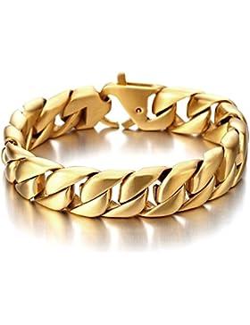 Qualità Premium Große Schwere Gold Satinierte Panzerkette Armband für Herren Edelstahl-Armband 21CM
