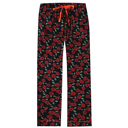 Stricken Lounge-hose (Noble Mount Damen Butter Weich Stricken Lounge Hose - Rosen Schwarz-Rot - X-Large)